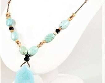 Genuine Turquoise Teardrop Pendant Necklace