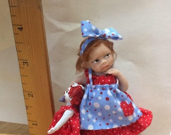 OOAK doll red and blue dress
