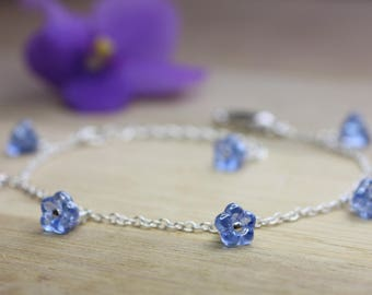 Forget me not Bracelet, Forget-me-not bracelet, sterling silver and blue glass flowers, adjustable length