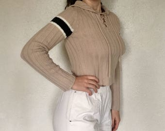 SALE Brown Women's Sweater With Draw Strings