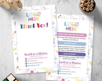 Dot Dot Smile Thank You Card, Free Personalized, DDS Care Card/Instruction, Return Policy, For DDS Merchandiser