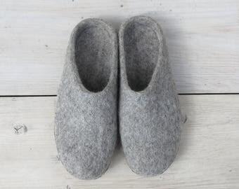 Bidi Handmade Felt Slipper Mules with suede soles
