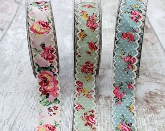 Floral Ribbon, Scalloped Edge Ribbon, Vintage Style Ribbon, Shabby Chic Ribbon, Flower Ribbon, Roses Ribbon, Sewing Supplies, Haberdashery.
