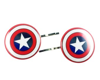 Captain America Bobby Pins - Hair Pins Avengers Superhero Hair Clips Logo Party Favor Costume Cosplay