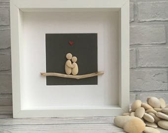 Pebble art: Couple in love - Handmade wedding gift, engagement gift, anniversary gift
