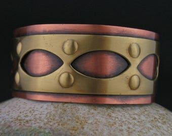 Vintage Copper Brass Intarsia Cuff Bracelet, Mixed Metals Cuff, Vintage Copper Brass Jewelry, Mixed Metals Jewelry