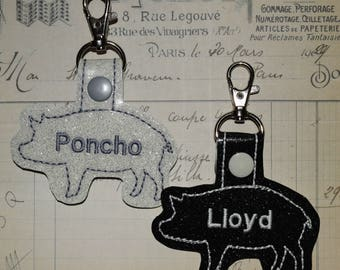 Personalized Show Pig Keychain