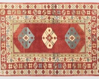 "Vintage Classic Rug, Anatolian Rug, Karapinar Rug, 3'4""x 5'0'' Brown Rug, Turkish Rugs, Decorative Rug"