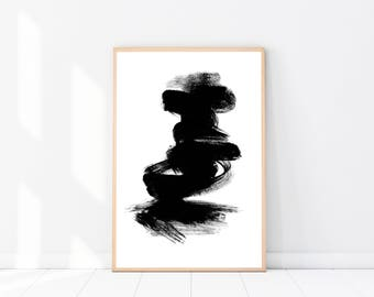 Abstract PRINT, 'Storm' Art Print, Modern Minimalist, Black & White Wall Art, Abstract Poster, Scandinavian Art Print, Abstract Wall Art