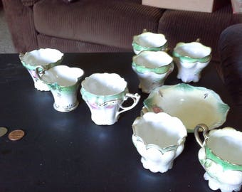 R.S. Prussia 8 miniature teacups and one plate, green, white, unmarked