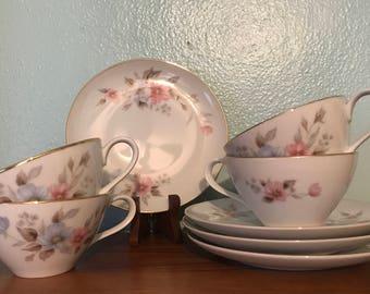 Vintage Nippon China Teacups & Saucers - Set Of Four