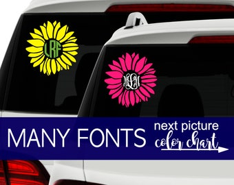Floral Monogram Decal, Monogram Flower Decal Car, Cute Decals, Car Stickers for Girls, Car Stickers for Monogram Car Accessories CDMG2A