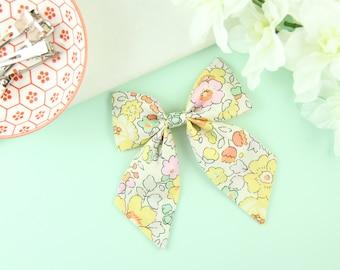 Liberty Of London Sailor Bow | Handmade Sailor Bow | Floral Fabric Hair Bow | Yellow Summer Bow | Hand Sewn Bow | Cotton Bow on Clip