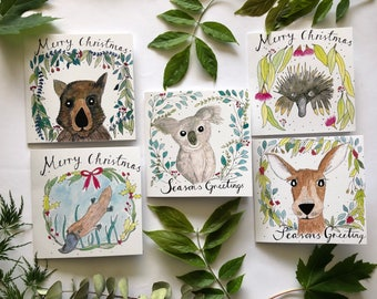 5 Australian Animal Christmas Cards, 5 Pack of Aussie Xmas Cards, Watercolour Greeting Cards