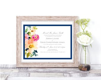 Blue and Grey Floral Watercolour Wedding Invitation - Sample Set + Voucher