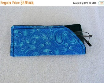 On Sale Now Padded Eyeglass Case, Eye Glass Case, Case for Eye Glasses, Soft Eye Glass Case, Eye Glass Holder, Shades of Blue and Green, 6 1