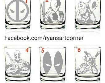 PICK 2 . 14oz Scotch Rocks Whiskey Glass  Marvel Comic's DEADPOOL Personalized Etch Engraved glass Set of 2