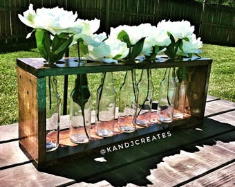 KANDJCREATES Farmhouse Wooden Table Centerpiece || Wooden Vase Centerpiece Box
