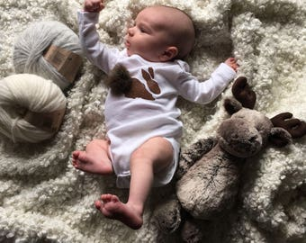 EASTER SALE! Baby Onesie, 100% Genuine Fur, Bunny Rabbit, Size 6 months