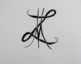 letter tattoo etsy. Black Bedroom Furniture Sets. Home Design Ideas