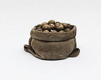 Miniature Sack of Potatoes / Miniature Potatoes / Miniature Burlap Sack / Dollhouse Miniature / OOAK / Dollhouse Potato