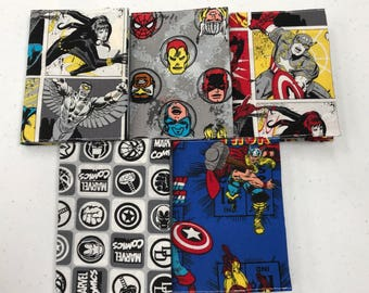 Set of 5 Marvel Super Hero Mini Fabric Covered Journals. Free Shipping!
