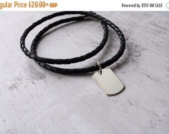 Summer Sale Mens Leather Necklace With Personalised Silver Dog Tag - Mens Jewellery - FREE ENGRAVING