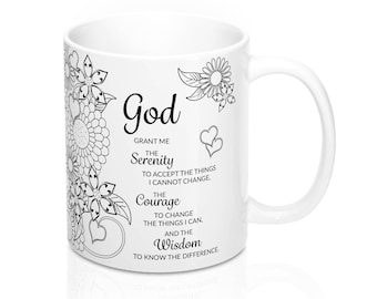 Serenity Prayer Coffee Mug With Adult Coloring Book Theme For Recovery Or Aa Gift
