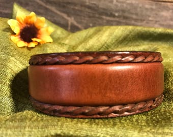 Upcycled Brown Leather Cuff with Woven Edges, Repurposed Belt Bracelet, Women's Leather Cuff Bracelet, Detailed Leather Cuff Bracelet