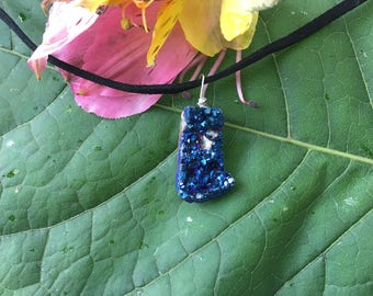 Blue Titanium Crystal Cluster Black Suede Necklace