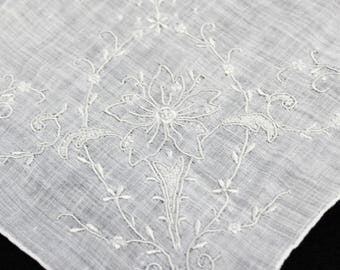 Vintage Handkerchief  Lots of Embroidery  Perfect Something Old  Bridal Hankie  Mother of the Bride Groom Ivory Soft Cotton