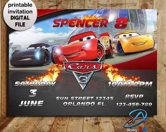 Cars 3 Invitation, Cars 3 Party, Cars 3 Birthday, Cars 3, Cars Invitation, Disney Cars, McQueen Invitation, Cars 3 Birthday Party, Movie