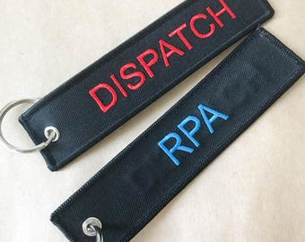 Custom aviation keychains, custom crew tags, custom embroidered key tags