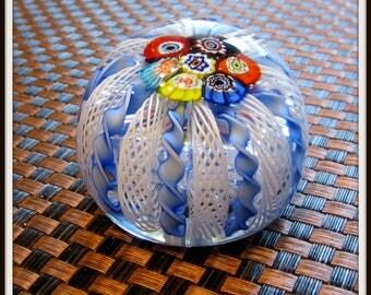 Murano Archimede Seguso Art Glass Millefiori Latticino Zaufirico Paperweight