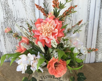 Spring Floral Arrangement in a Vintage looking Drawer that reads Flowers, Summer Arrangement, Peach Table Arrangement, Mothers Day, Easter