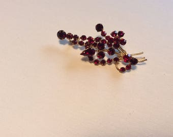 Stunning Red Rhinestone Brooch