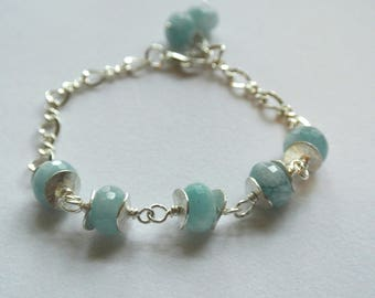 Aquamarine Gemstone Sterling Silver Adjustable Bracelet