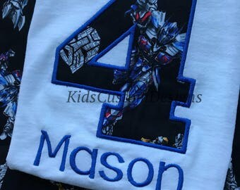 Embroidered Transformers birthday shirt optimus prime bumble bee Megatron any age