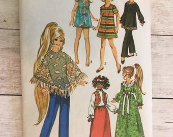 Vintage Doll Clothes Sewing Pattern 1970s Doll Clothing