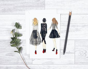 """Little Black Dress Besties - Note Cards - 4""""x6"""" - Individual - Gifts for Her - High Fashion - Besties - Best Friends - Party Time - Girls"""