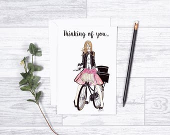"""Thinking of You -  Note Cards- 4""""x6"""" - Greeting Cards - Gifts For Her - Motivate - Encouragement - Bicycle Art - French Girl - Love - Roses"""