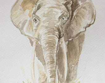 Elephant Watercolor Painting - WILD SERIES