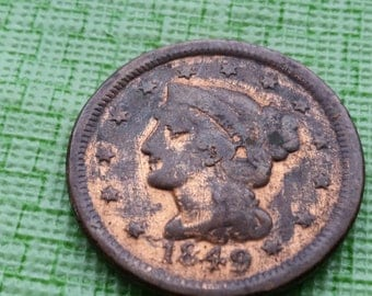 1849 Braided Hair large cent. #D817 old us coin