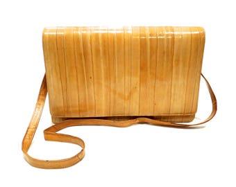 VINTAGE: 1980's - Large Eel Skin Leather Clutch - Soft Eel Bag - Eelskin - Made in Korea- Leather Bag - SKU Tub-26