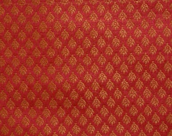 Half Yard of Red and Golden Leaf Pattern Brocade Silk Fabric by the yard