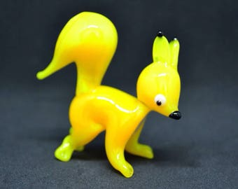 Yellow Glass squirrel figurine animals glass squirrel miniature art glass toy murano squirrel animals tiny murano squirrel figure glass gift