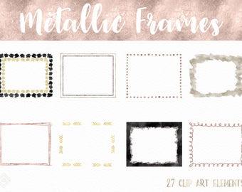 Metallic Digital Frame Clipart - Digital Frames - Overlays - Border Clip Art - Rose Gold Silver Glitter Clipart Borders - Digital Scrapbook