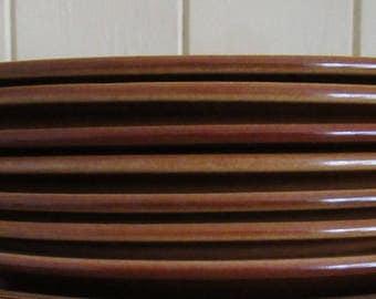 Retro Gift. Hornsea Heirloom. Six Hornsea Side Plates. John Clappison. Brown Hornsea Plates. Modernist. 1970 Hornsea Heirloom. Brown Hornsea
