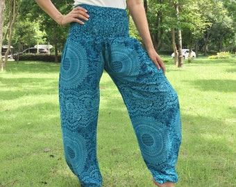 Blue Harem Pants,Thai Harem Pants Women,Yoga Pants,Aladdin Pants Maxi Pants,Boho Pants,Gypsy Pants,Genie Pant,Hippy Pants,Bohemian Pants