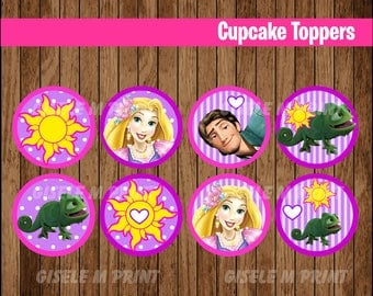 Tangled cupcakes toppers, Printable Rapunzel toppers, Tangled party toppers instant download
